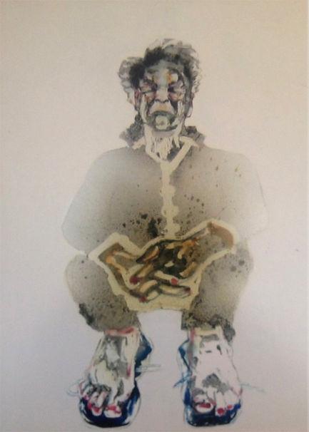 Les grands enfants 5. 2006 Aquarelle et gouache, 52x67 cm © Khaled Takreti Exposition Artiste galerie d'art contemporain Lyon Croix-Rousse Regard Sud
