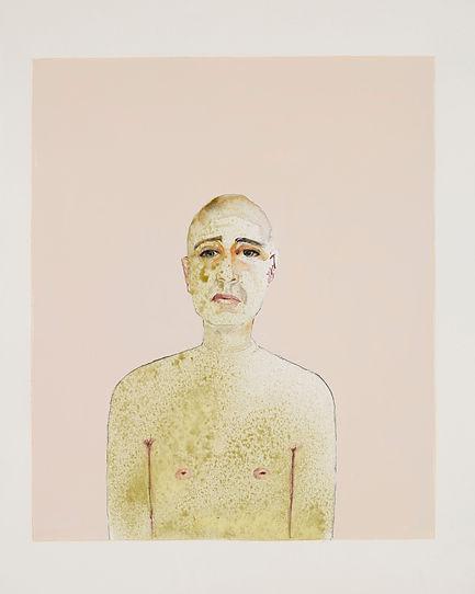 Autoportrait. 2006. Aquarelle et gouache sur papier. 52 x 67 cm © Khaled Takreti Exposition Artiste galerie d'art contemporain Lyon Croix-Rousse Regard Sud