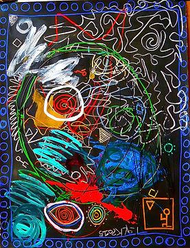 Série Chaos 71. 2015. Technique mixte sur papier vélin. 120x160cm ©Lahcen Khedim Exposition Artiste galerie d'art contemporain Lyon Croix-Rousse Regard Sud