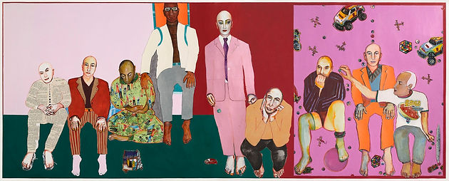 Les grands enfants, panoramique. 2007-2008. Matériaux divers sur papier. 130 x 320 cm ©Khaled Takreti Exposition Artiste galerie d'art contemporain Lyon Croix-Rousse Regard Sud