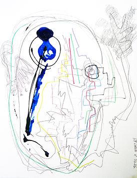 Sans titre. 2016. Technique mixte sur papier. 65x50cm ©Lahcen Khedim Exposition Artiste galerie d'art contemporain Lyon Croix-Rousse Regard Sud