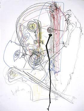 Deux hommes. 2016. Technique mixte sur papier. 65x50cm ©Lahcen Khedim Exposition Artiste galerie d'art contemporain Lyon Croix-Rousse Regard Sud