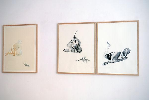 Les grands enfants 1 - 2 - 3. 2006 Aquarelle et gouache, 52x67 cm © Khaled Takreti Exposition Artiste galerie d'art contemporain Lyon Croix-Rousse Regard Sud