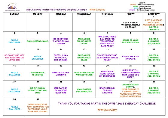 PWS Everyday Challenge Calendar of Activ