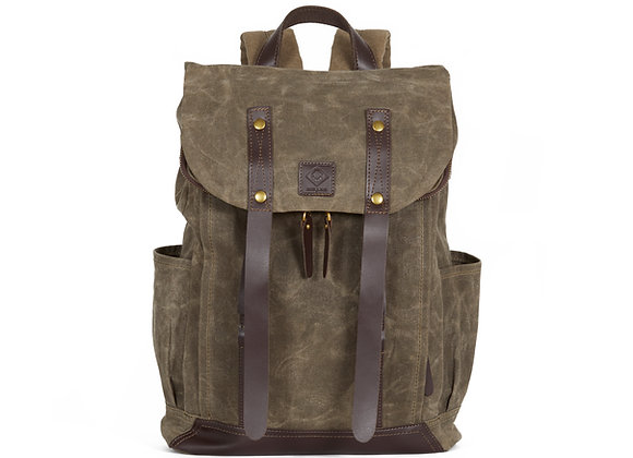 WAXED CANVAS FLAP TOP BACKPACK