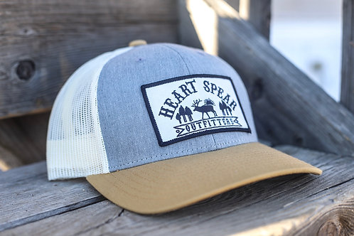 Khaki & Grey Patch Hat