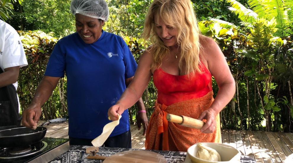 Roti lessons on Matangi. The food & flavors of India dominate the Fijian menu.
