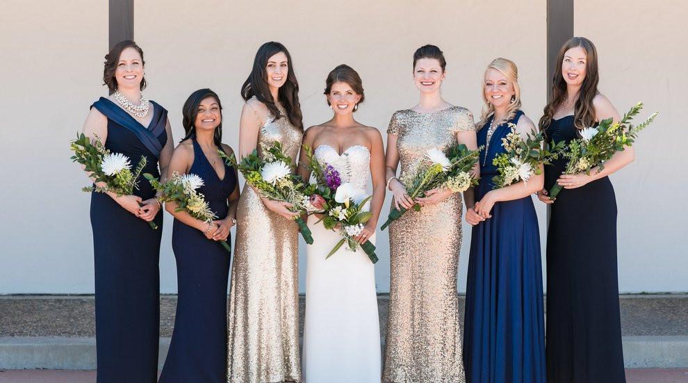 Navy Blue & Gold Sequin Bridesmaids Dresses