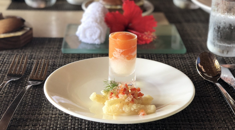 likuliku amuse bouche with an icy tropical shooter and spicy, clean ocean flavors