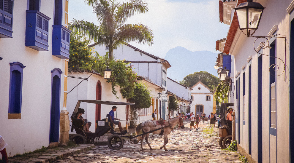 the only vehicles allowed on the ancient cobbles of Paraty