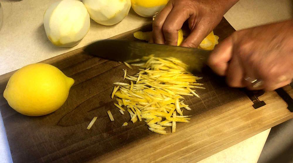 chopping lemon zest