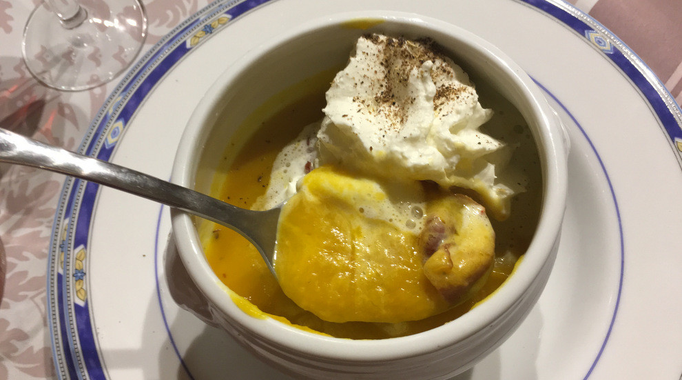 Chef Olivia's pumpkin soup, smoked chantilly and her own fragrant pepper blend