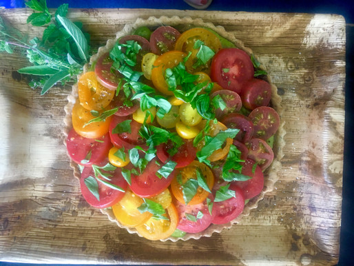 Tomato, Caramelized Onion & Goat Cheese Tart with Parmigiana Pepper Crust