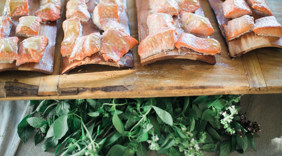 Alaskan Salmon Grilled on an Alder Wood Plank.