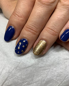 Blue and gold Bio Sculpture gel nails