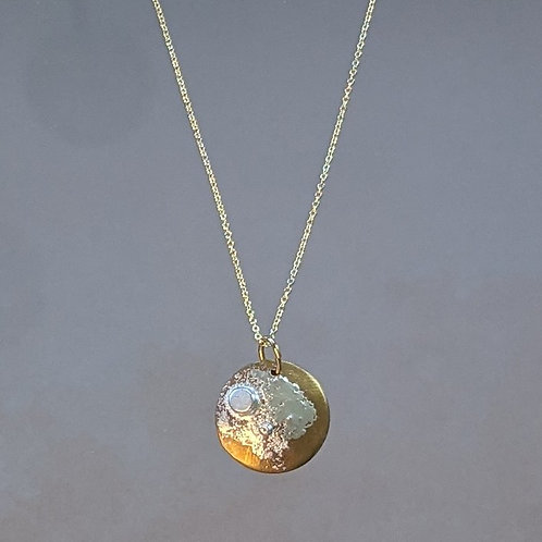 Small Lunar Necklace in Brass