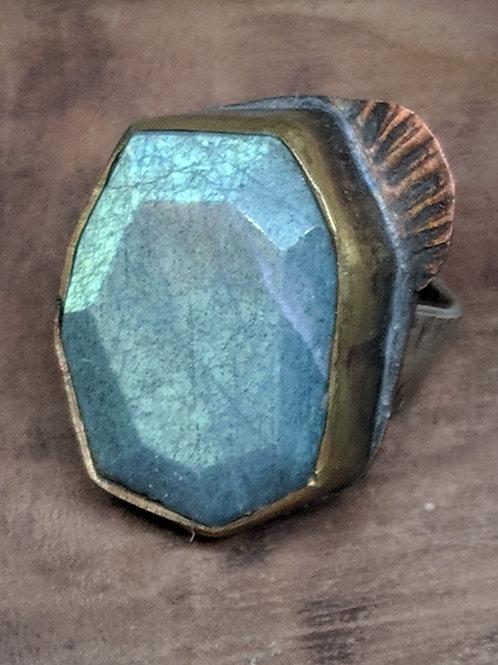 Faceted Labradorite Ring