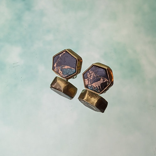Large Hex Studs Copper, Onyx and Turquoise