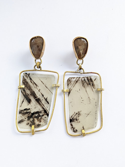 Golden Sapphire and Mica Earrings in Brass