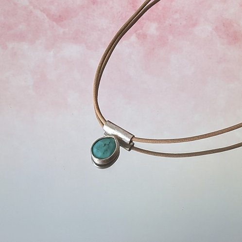 Minimalist Turquoise Necklace on Leather