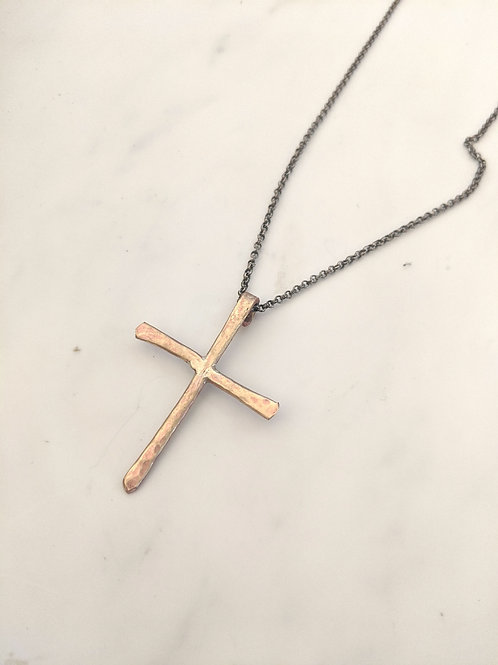 Brass Cross on Sterling Chain