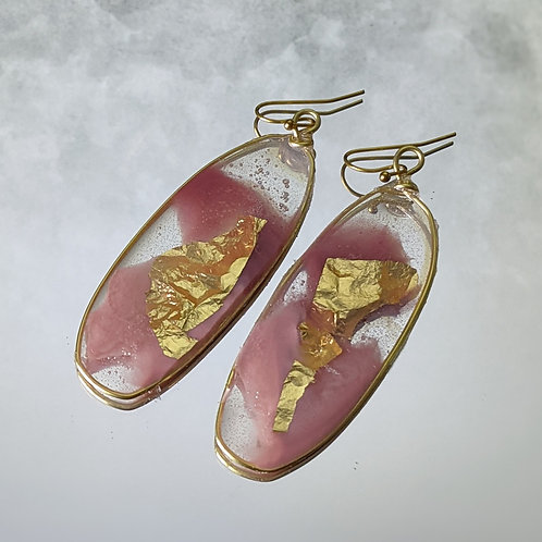 Blush Gold Acrylic Pours in Oblong