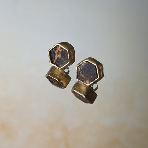 Small Hex Studs in Copper and Onyx