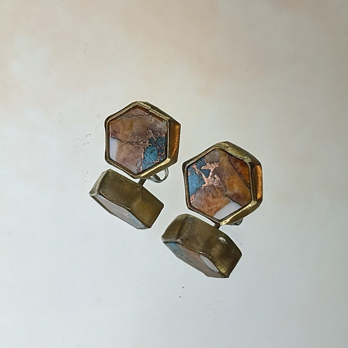 Large Hex Studs Copper, Spiny Oyster and Turquoise