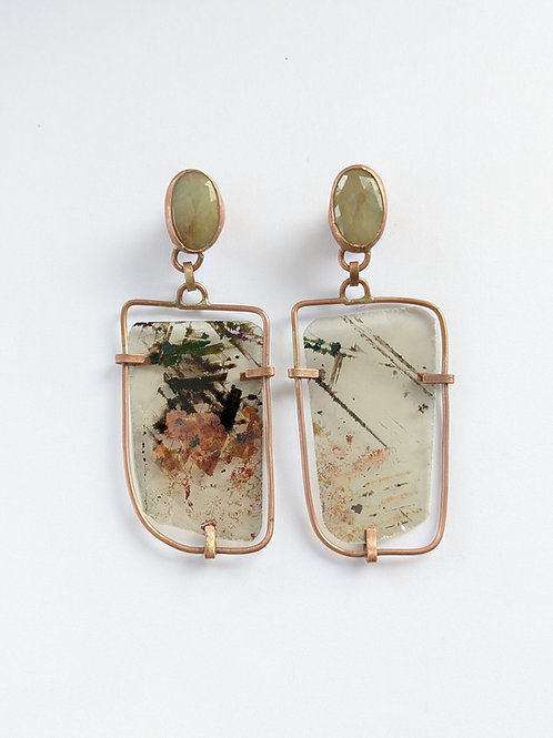 Lemon Sapphire and Mica Earrings