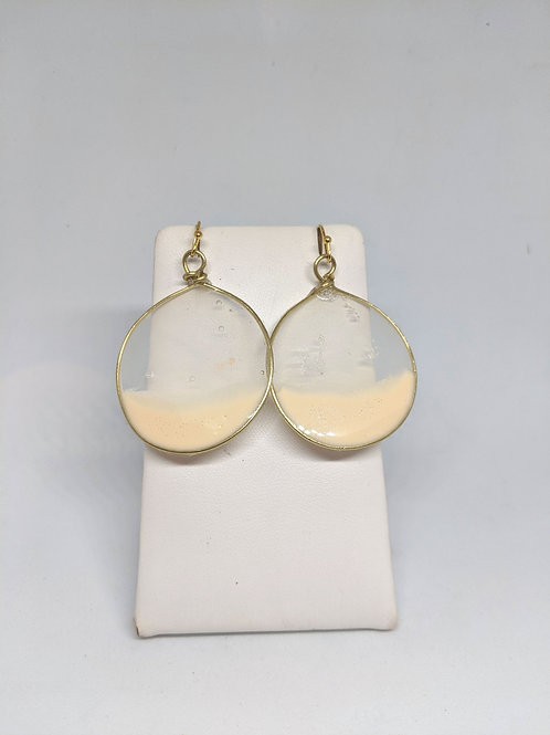White Acrylic Earrings in Small Round