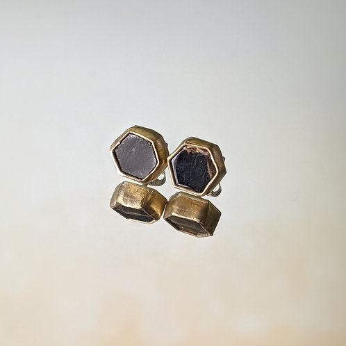 Small Hex Studs in Onyx and Copper