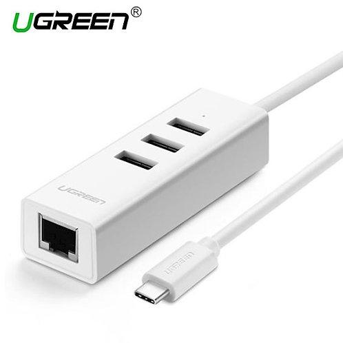 Ugreen Type C Combo (White) 4 Port HUB with Ethernet