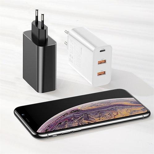 Baseus Three output quick charger(C+U+U)60W EU, White