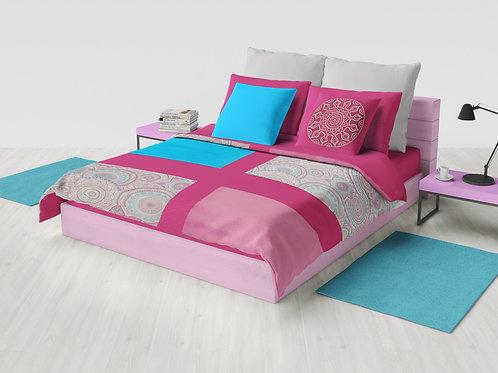 Cobertor Microcuero Mandala Rosa