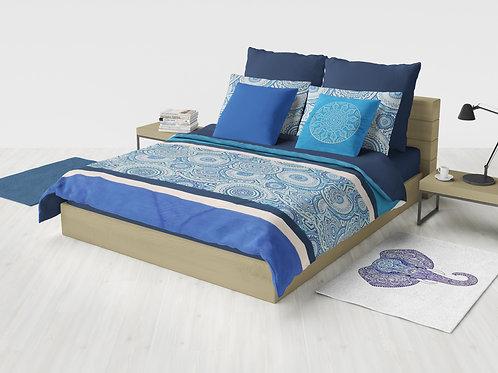 Cobertor Microcuero Mandala Azul