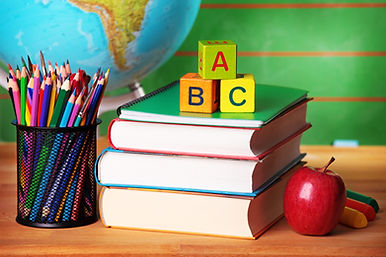 ABC-books-colored-pencils-apple-globe-el