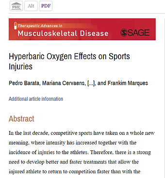 Hyperbaric And Effects On Sport Injuries