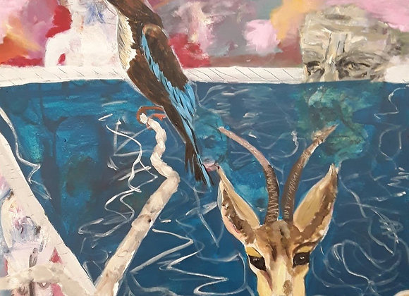The deer the Pool and the Bird
