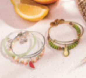 Watermelon and Avocado jewelry designed by Emily Lopuch for Alex and Ani.