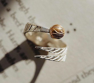Golden Snitch Ring designed by Emily Lopuch for Alex and Ani and Warner Bros.