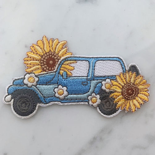 Hippie Jeep Sunflower patch designed by Emily Lopuch for Wildflower and Company.