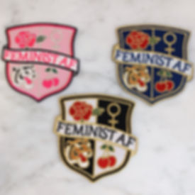 Feminist AF patches designed by Emily Lopuch for Wildflower and Company.