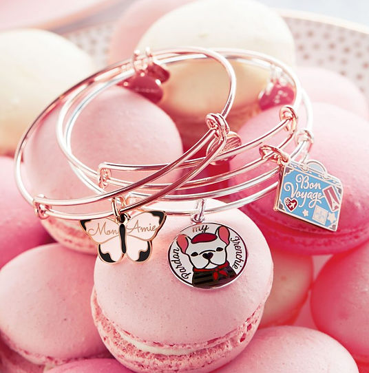 Mon Ami, Pardon My Frenchie, and Bon Voyage jewelry designed by Emily Lopuch for Alex and Ani.