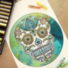 Calavera illustration by Emily Lopuch for Alex and Ani.