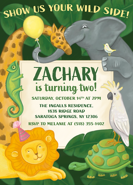Party Animals Birthday Invitation by Emily Lopuch.