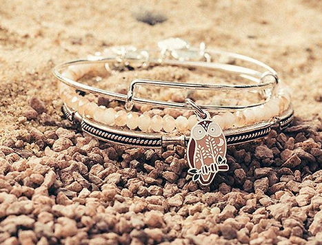 Forest Owl jewelry designed by Emily Lopuch for Alex and Ani.