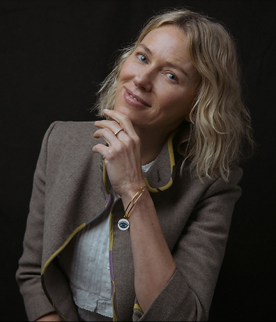 Naomi Watts wearing the Meditating Eye designed by Emily Lopuch for Alex and Ani and David Lynch Foundation.