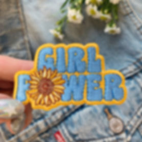 Hippie Girl Power Sunflower patch designed by Emily Lopuch for Wildflower and Company.