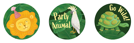 Party Animals Birthday Cake Toppers by Emily Lopuch.