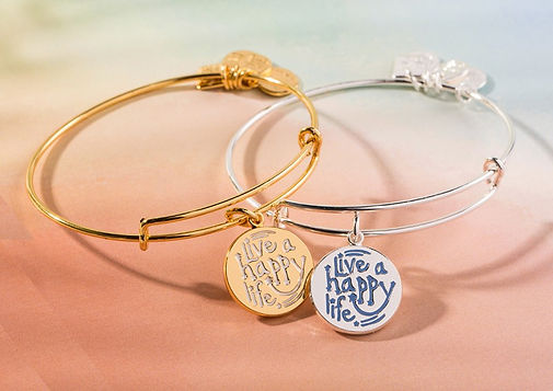 Live a Happy Life jewelry designed by Emily Lopuch for Alex and Ani and the Joe Andruzzi Foundation.